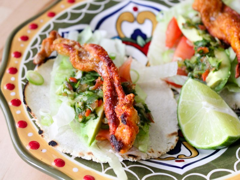 Crispy Chicken Skin Tacos with Green Habanero Salsa