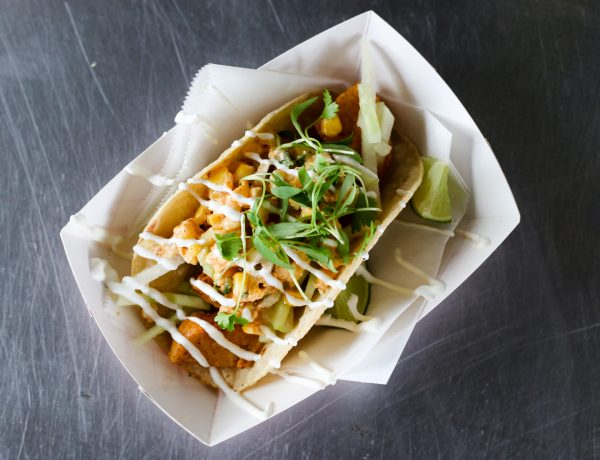 Fried Scallop Taco with Mexican Street Corn Salsa