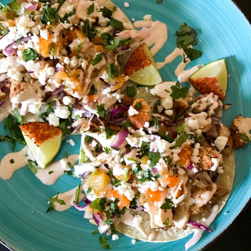 Jamaican Jerk Chicken Tacos With Charred Pineapple Salsa And